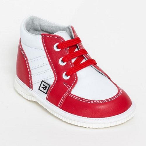 74810a54e894 Rak detské kožené capačky Ines červeno biele veľ. 18