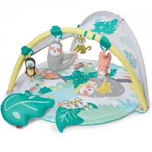tyrkysová hracia deka s visiacimi hračkami